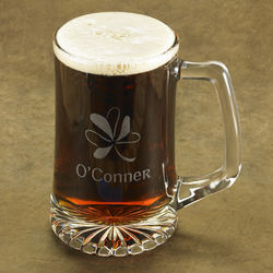 Personalized Etched Shamrock Beer Mug