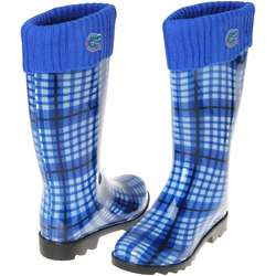 Royal Blue Florida Gators Women's Plaid Cuffed Rain Boots