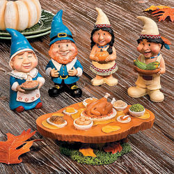 Pilgrim and Native American Gnomes Feast Figurines