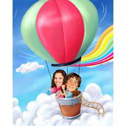 Hot Air Balloon Expedition Personalized Caricature Art Print