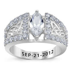 Sterling Silver Marquise Cubic Zirconia Engraved Wedding Ring