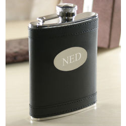 Phillipe Black Faux Leather Flask with Engravable Oval