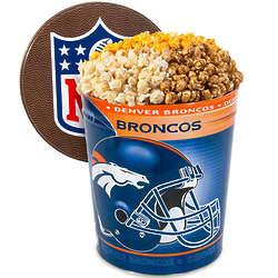 3 Gallons of Popcorn in Denver Broncos Tin