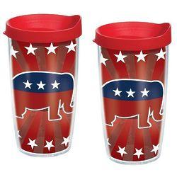 2 Republican Elephant 16 Oz. Tervis Tumblers with Lids