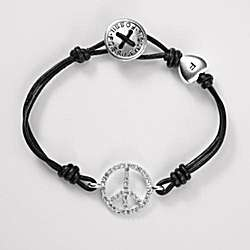 Silver Leather Peace Bracelet