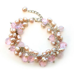 Pink Pearl And Crystal Cluster Bracelet