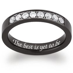 Women's Flat Black Titanium Cubic Zirconia Engraved Band