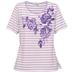 Women's Cathy Daniels Striped Floral Knit Tee