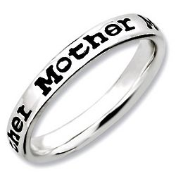 Mother's Black Sterling Silver Stackable Ring
