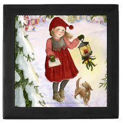 Girl and Puppy Christmas Keepsake Box