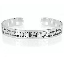 Sterling Silver Serenity Prayer Wide Bangle Bracelet