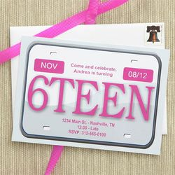 16th Birthday Personalized License Plate Party Invitations