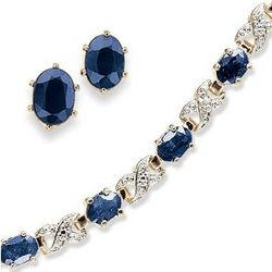 Sapphire and Diamond Tennis Bracelet with Earrings
