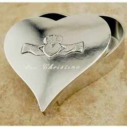 Pewter Claddagh Heart Memory Box