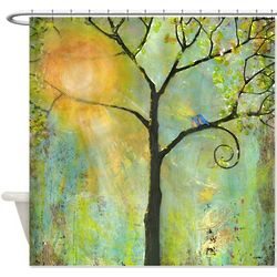 Hello Sunshine Tree Shower Curtain