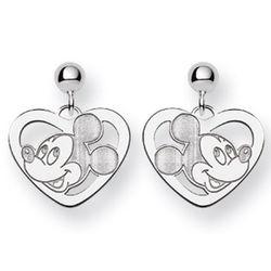 Sterling Silver Mickey Mouse Heart Earrings