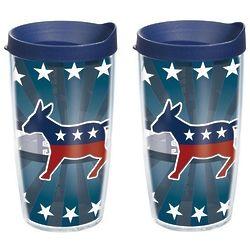 2 Democrat Donkey 16 Oz. Tervis Tumblers with Lids