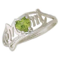 Peridot and Diamond Heart Shaped MOM Ring