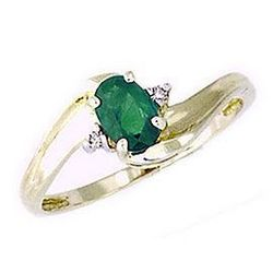 Emerald and Diamond Wave Ring