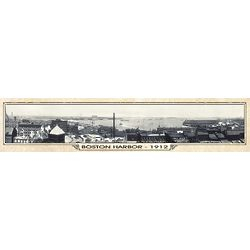 Boston Harbor Vintage Panorama Metal Print