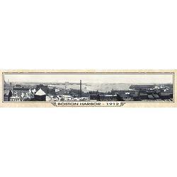 Boston Harbor Vintage Panorama Metal Print