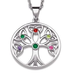Platinum Plated Family Birthstone Tree of Life Pendant