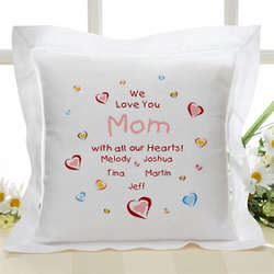 Mom's Personalized All Our Hearts Linen Throw Pillow