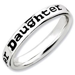 Daughter's Black Sterling Silver Stackable Ring