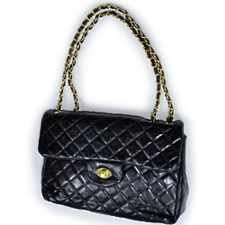 Black Quilted Handbag with Double Chain Strap