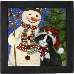 Christmas Cat with Snowman Art Tile Box