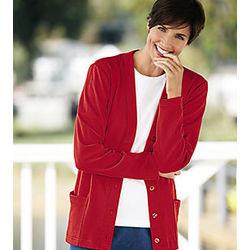 Women's Plus Size Button-Front Knit Cardigan