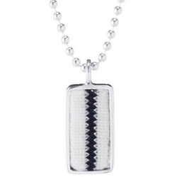 Sterling Silver Pinstripe Baseball Uniform Necklace