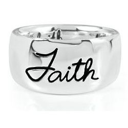 Sterling Silver Wide Band Faith Ring