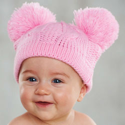 Baby's Pom Pom Pink Cable Knit Hat