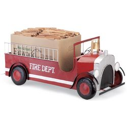 Rustic Recycled Metal Fire Truck Fatwood Holder