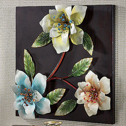 3-D Flower Wall Decor with Crystal Accents