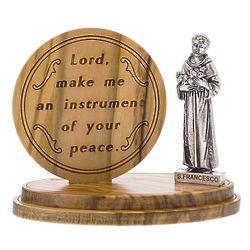 Olive Wood Medallion St. Francis Statue