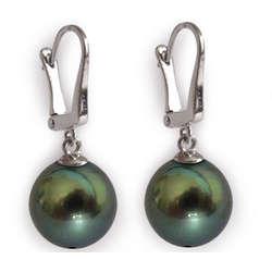 10.0-11.0mm AAA Tahitian Pearl Dangle Earrings