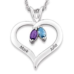 Sterling Silver Couple's Name & Marquise Birthstone Heart Pendant