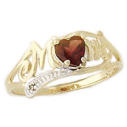 Garnet and Diamond Heart Shaped MOM Yellow Gold Ring