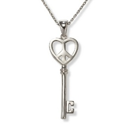 Heart and Peace Sign Key Necklace in Sterling Silver