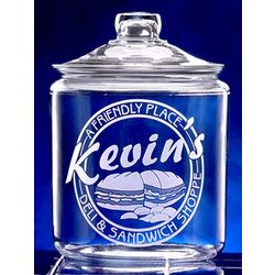Personalized Deli Theme Etched Glass Cookie Jar