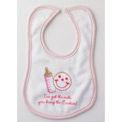 Milk and Cookies Baby Girl Bib