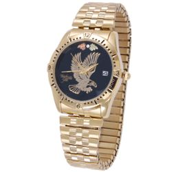 Gold Tone Eagle Watch with Diamond Accent