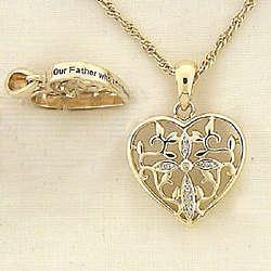 Two Tone Cross Heart Prayer Pendant