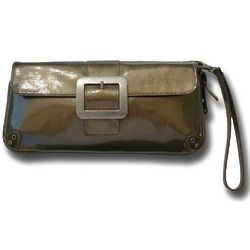 Addison Patent Leather Olive Clutch