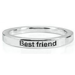 Sterling Silver Size 6 Best Friend Inscribed Stack Ring