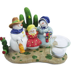 Western Christmas Snowman Candleholder