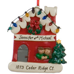 Personalized Couple in Red House with Lights Christmas Ornament