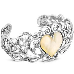 Gold Mother of Pearl Heart Sterling Silver Cuff Bracelet